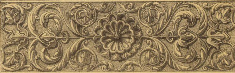 Орнамент чеканной серебряной басмы оклада иконы Спаса Эммануила. <br/>17 век