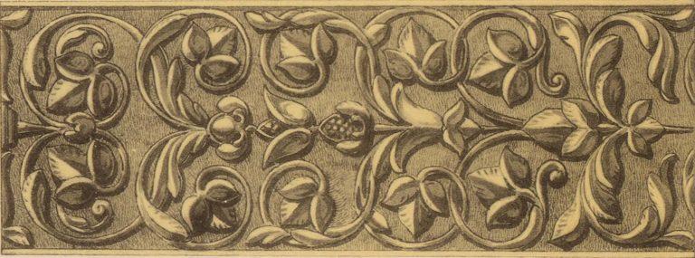 Орнамент чеканной серебряной басмы оклада иконы Владимирской Божей Матери. <br/>17 век