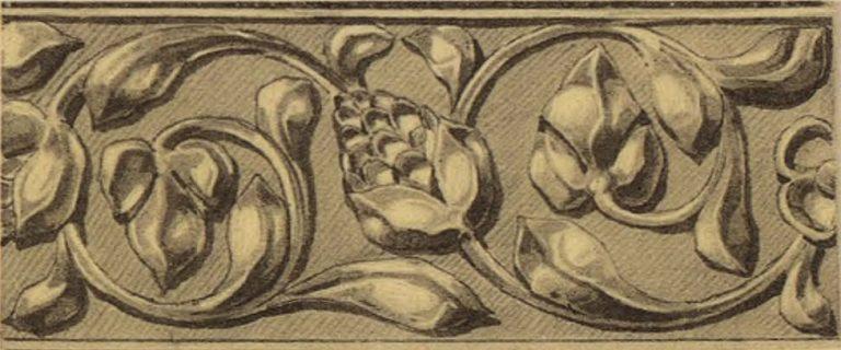 Орнамент басмы оклада иконы Казанской Божей Матери. 17 век