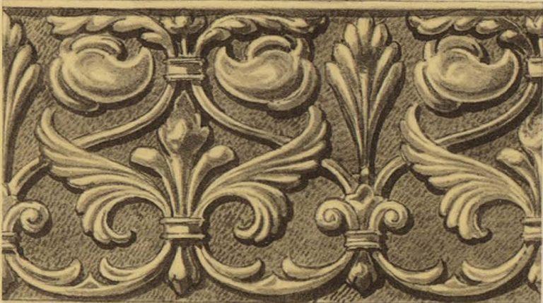 Орнамент серебряной басмы оклада иконы Тихвинской Божей Матери. <br/>16 век