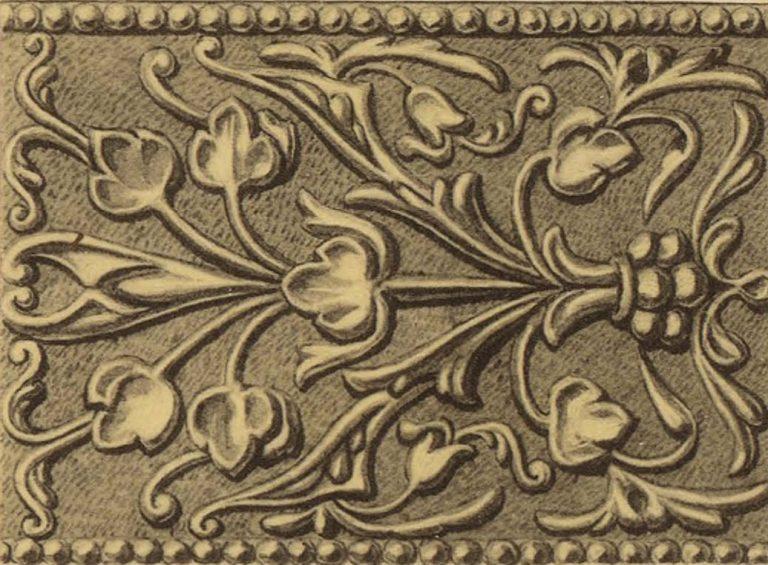 Орнамент серебряной басмы оклада иконы Господа Вседержителя . <br/>16 век
