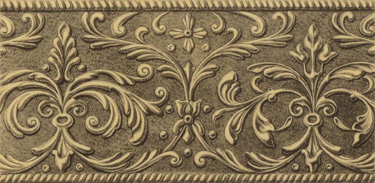 Орнамент серебряной басмы оклада иконы Святой Троицы в иконостасе. <br/>16 век