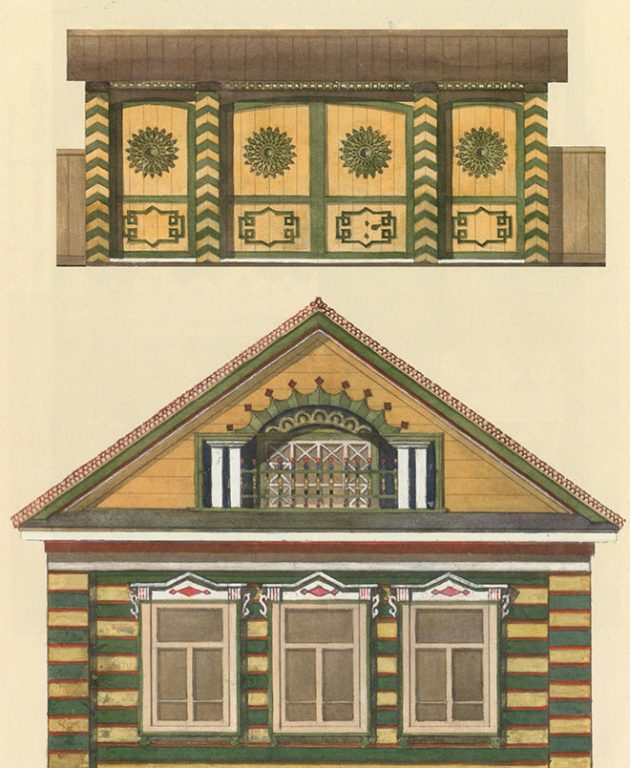 Sample design of the Tatar house gates and façade. <br/>Early 20th century