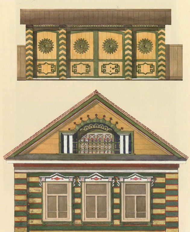 Образец оформления ворот и фасада татарского дома. <br/>Начало 20 века