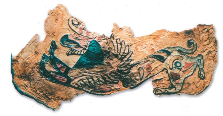 Saddle cover fragment. Griffin. <br/>4-3 century BC