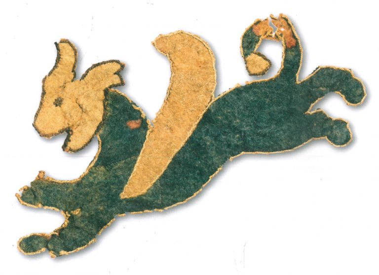 Fragment of felt coverings with images of lion griffins: horse saddle cover №2. <br/>4-3 century BC