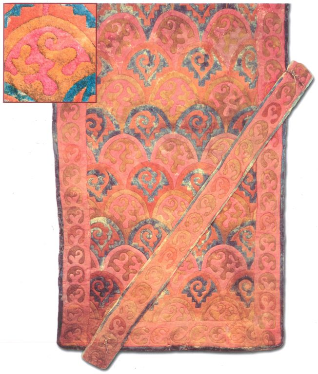Felt saddlecloth with scale ornament. <br/>4-3 century BC