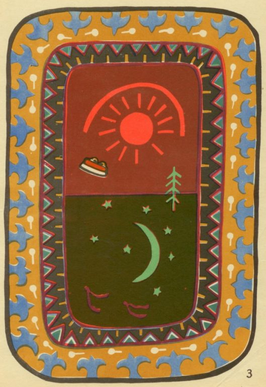 "Carpet. Applique work with colored pieces of fabric and band. ""Day and night"". 1929 year"