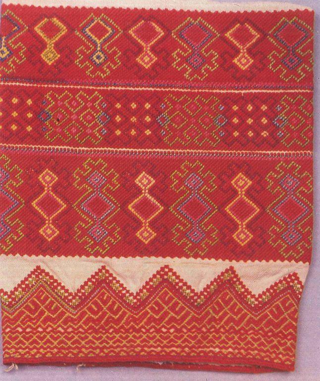 Фрагмент вышивки рукава женского распашной одежды шушпан. <br/>Конец 19 века