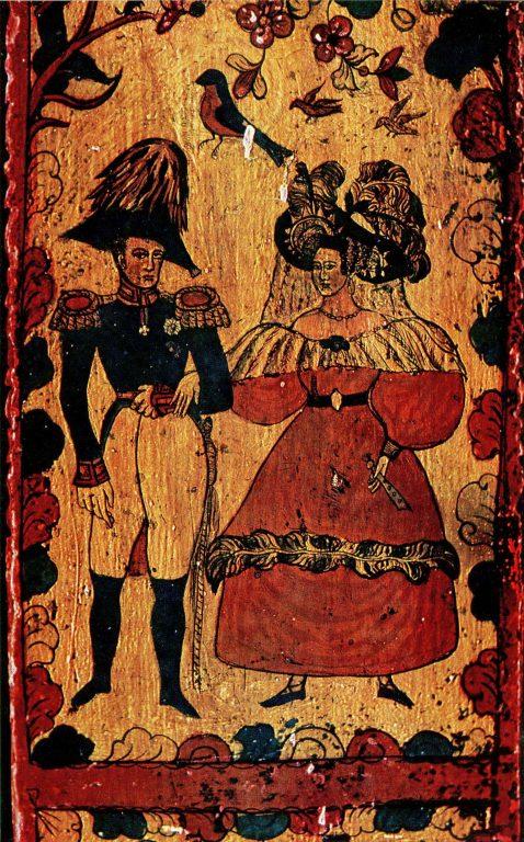 Прялка с изображением Александра I и Елизаветы Алексеевны. Деталь. <br/>1-я половина 19 века