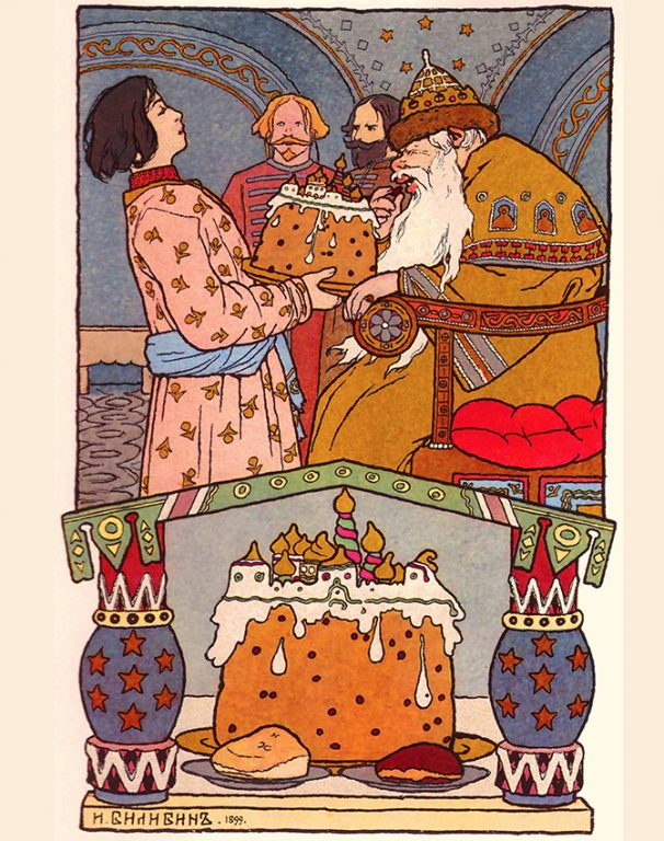 Ivan Bilibin's illustration for the Russian folk fairy tale The Frog Princess. 1899 year