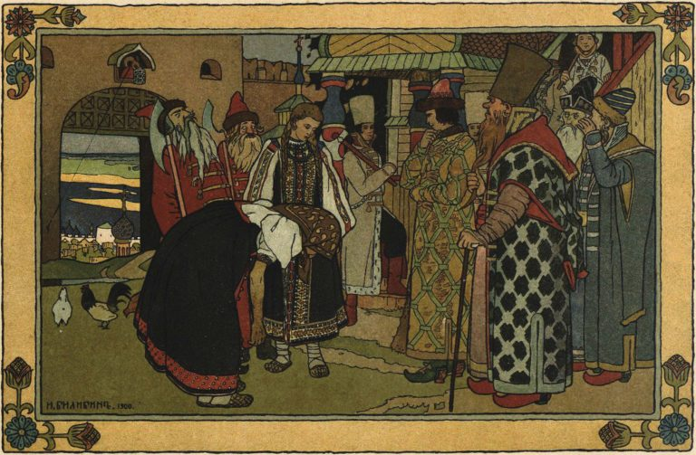 Ivan Bilibin's artwork for the fairy tale Vasilisa the Beautiful. <br/>1900 year