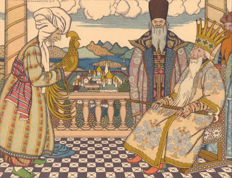 Ivan Bilibin's artwork for Pushkin's Tale of the Golden Cockerel. <br/>1900-1910 years