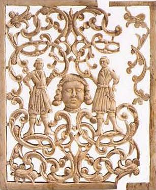 Пластина. Торцевая стенка шкатулки. <br/>Конец 17 века - начало 18 века