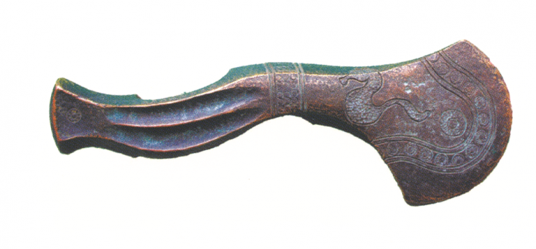 Bronze axe with the image of a snake. 9-8 century BC