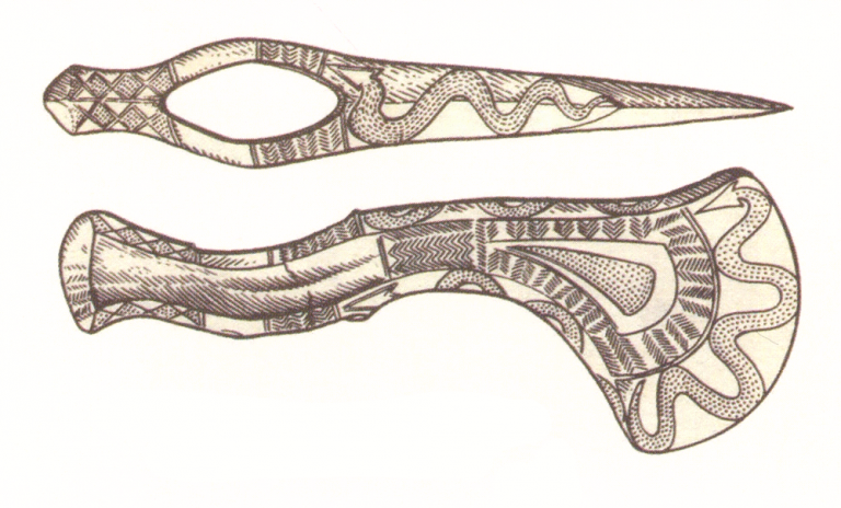Bronze axe from the Psedach burial ground. <br/>6-5 century BC