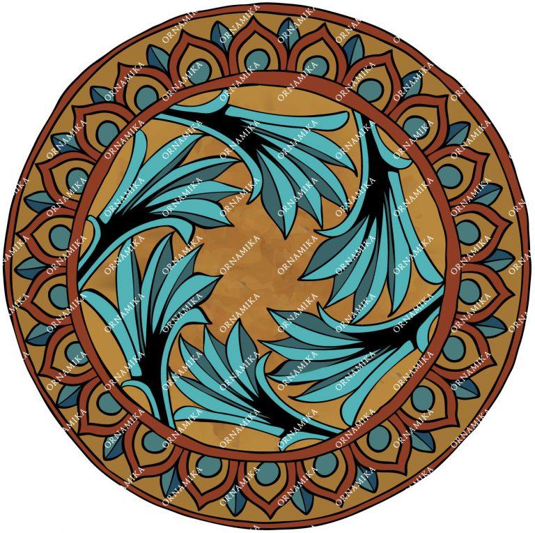 Реконструкция орнамента тарелки в русском стиле