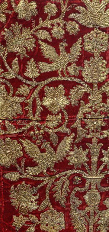 Фрагмент шитья головного убора. <br/>Начало 18 века