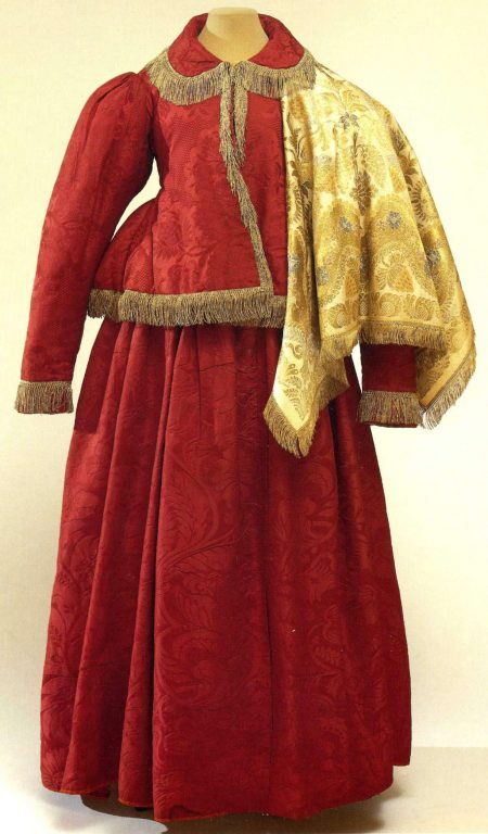Women's folk costume with padded jacket and headscarf. <br/>Еarly 19th century