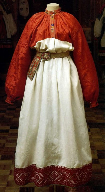 Peasant young women's festive clothes. <br/>Mid 19th century