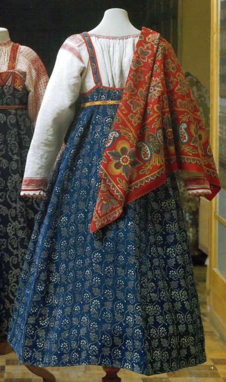 Peasant's sarafan made of printed cloth. Late 18th - еarly 19th century