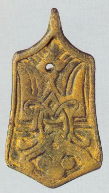 Trapezoidal pendant with Rurikovich symbol. <br/>11h century