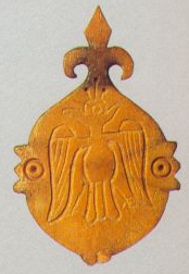 Pendant with the image of a double-headed eagle in the crown. <br/>14th century