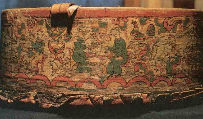 Fragment of basket painting. Genre scene. <br/>Еarly 19th century