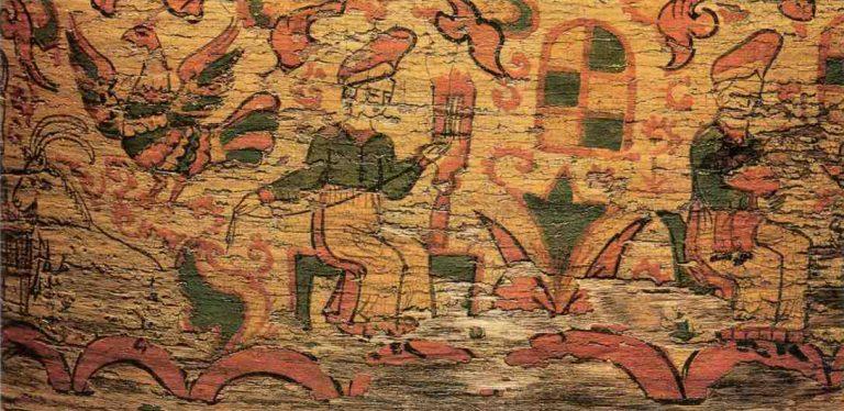 Фрагмент росписи набирухи. Бытовая сцена. <br/>Начало 19 века