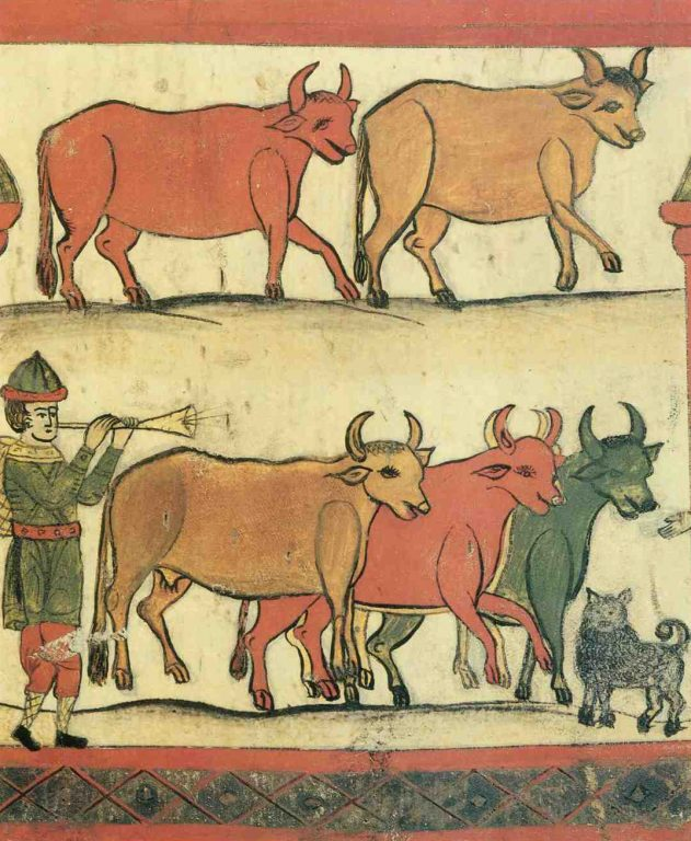 """Fragment of distaff painting. """"Cattle"""". <br/>Еarly 20th century"""