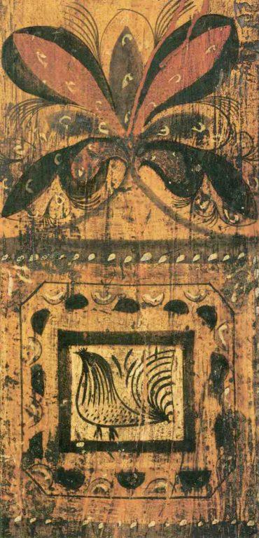 Фрагмент росписи прялки. <br/>Вторая половина 19 века