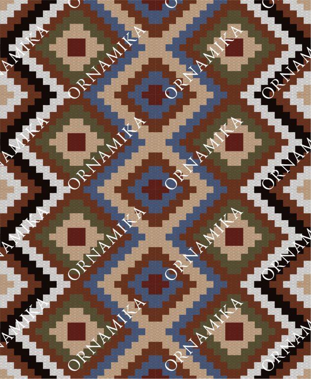 Реконструкция орнамента ковра санного шерстяного