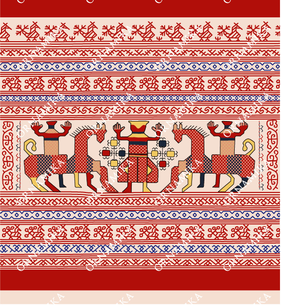 Реконструкция орнамента полотенца с двумя всадниками и женской фигурой