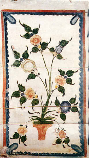 A bush in a vase. Painting on the right partition of the icon corner. <br/>1904-1910 years