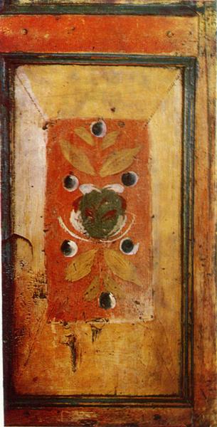 Цветок. Роспись филенки дверки шкафчика. <br/>Конец 19 века