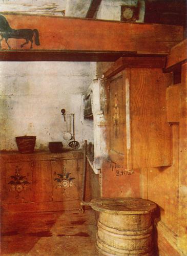 Конь, букеты. Роспись полки-грядки, голбечного шкафчика и стола-залавка в кутном углу