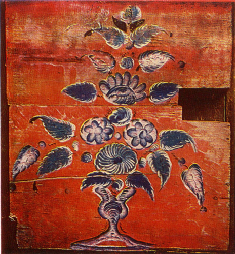 Bouquet in a vase. Partition panel painting. <br/>Late 19th-early 20th century