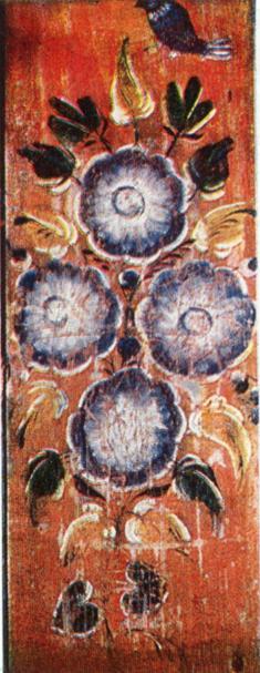 Птица над цветущим кустом. Роспись припечной доски. 1907 год
