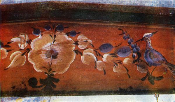 Цветок-солнце, виноград, птица (удод). Роспись полки-грядки