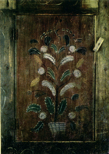 Tree with fruits. Cupboard door painting . <br/>Еarly 20th century