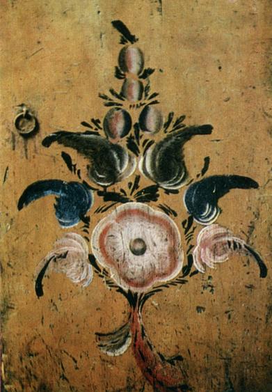 Букет. Роспись дверцы голбечного шкафчика. 1909 год