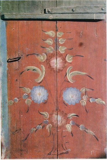 Bush with flowers and berries. Door painting. <br/>Late 19th century