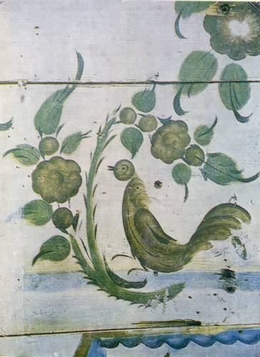 Brown cock on a branch. Painting on a wall panel. Fragment. <br/>1900 years
