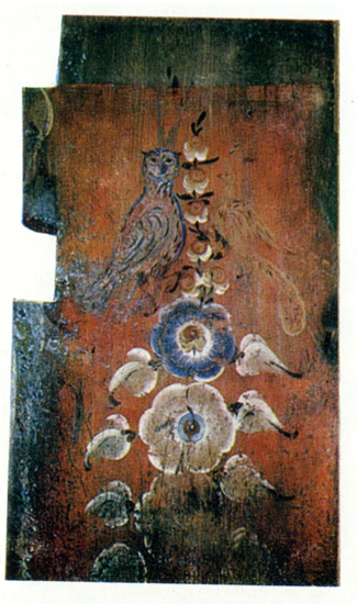 An owl and a peacock on a blooming tree. Stove board painting. <br/>1907 year