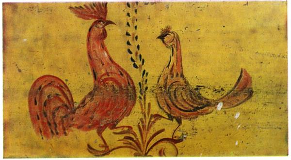 Петух с курочкой. Роспись подшесточной доски. 1907 год