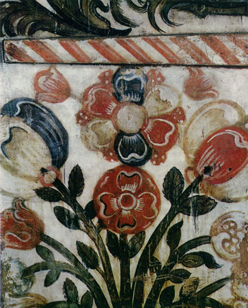 Bouquet. Painting on the right wing of an altarpiece. <br/>17th century