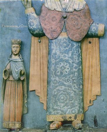 Параскева Пятница с предстоящими св. Варварой и св. Екатериной. Деталь. <br/>17-18 века