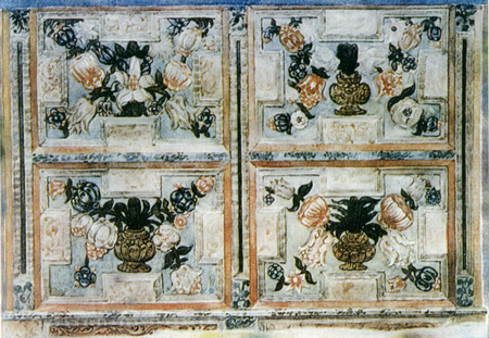 Flower bouquets in vases. Kliros painting. Fragment. Late 17th century