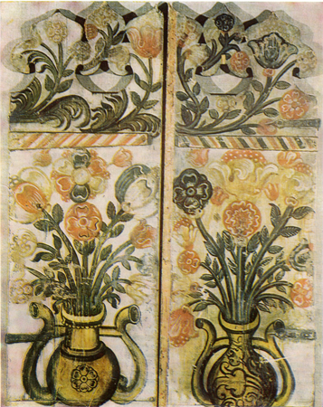 Flowers in vases. Front folds painting. <br/>17th century
