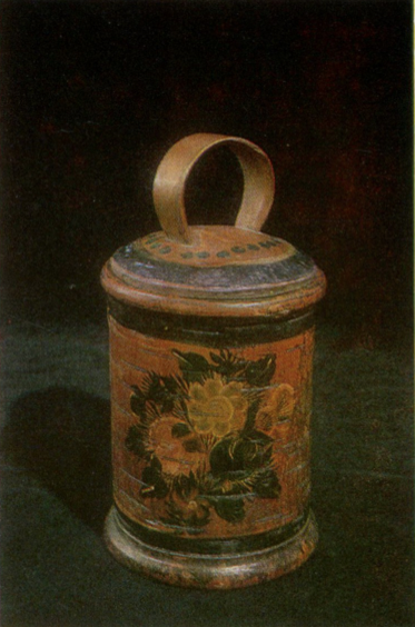 Bouquet. Burak (birch bark basket) painting. <br/>1928 year